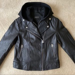 Yoana by Mackage moto leather jacket w hood Medium